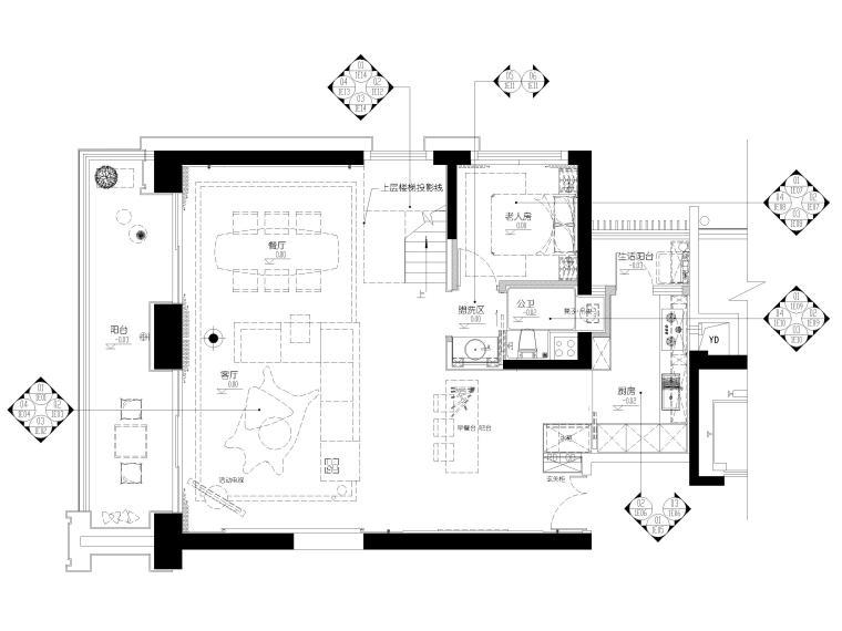 [深圳]壹方中心178㎡现代复式三居家装图纸-一层平面布置图
