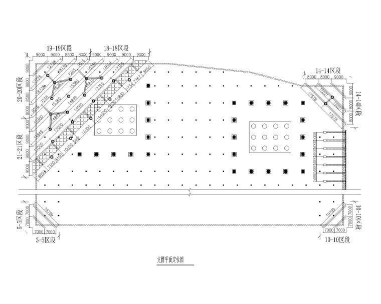 [广州]基坑支护设计图_灌注桩+预应力锚索-支撑平面定位图