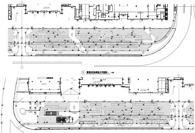 [广东]万象城东侧商业住宅景观园建竣工图-东区标高放大平面图