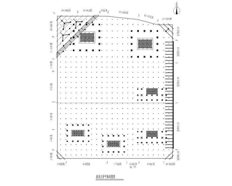 [广州]基坑支护设计图_灌注桩+预应力锚索-基坑支护平面布置图