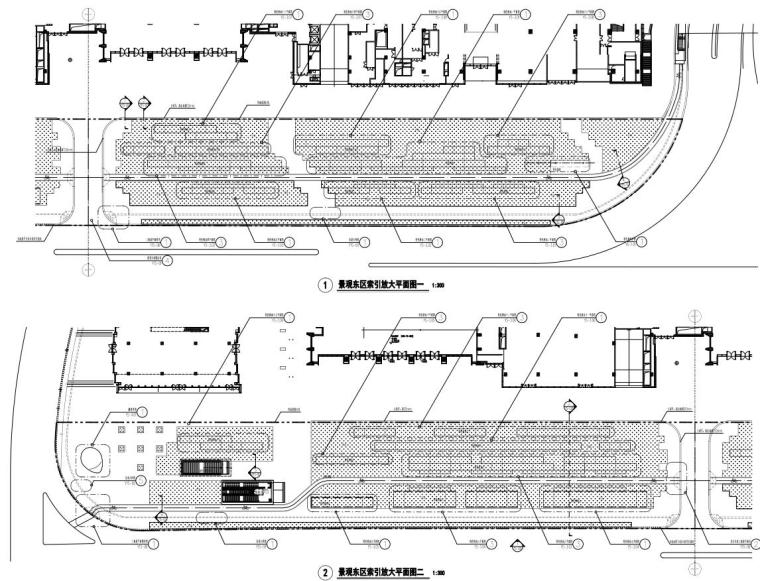 [广东]万象城东侧商业住宅景观园建竣工图-东区索引放大平面图