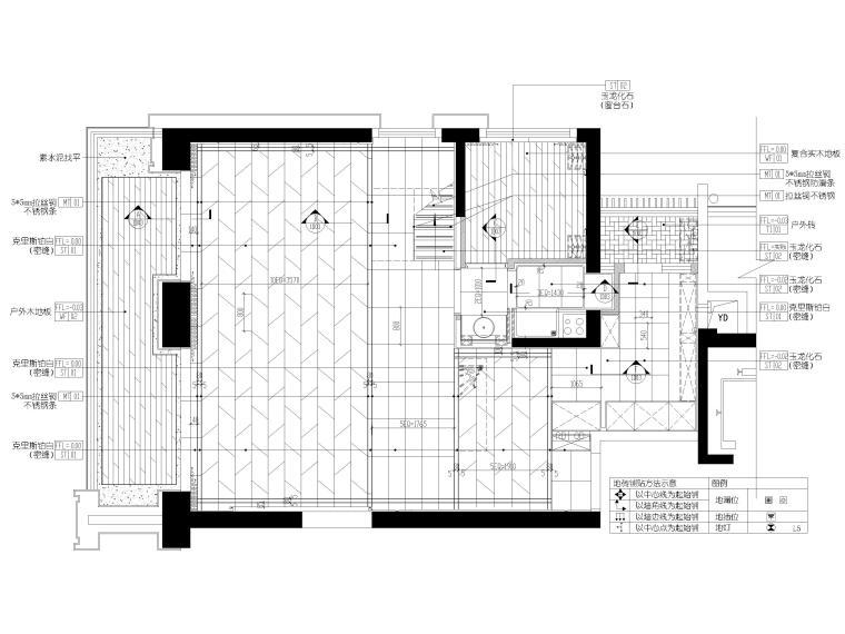 [深圳]壹方中心178㎡现代复式三居家装图纸-一层地面铺装图