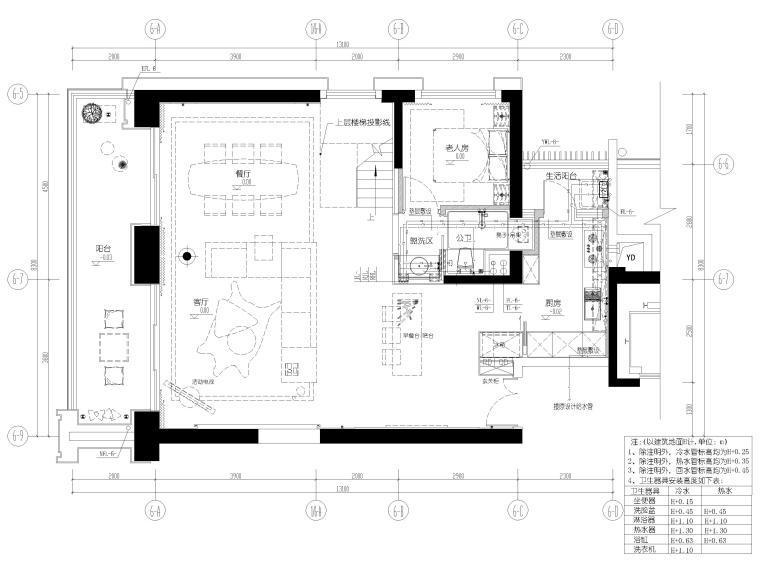 [深圳]壹方中心178㎡现代复式三居家装图纸-一层给排水布置图