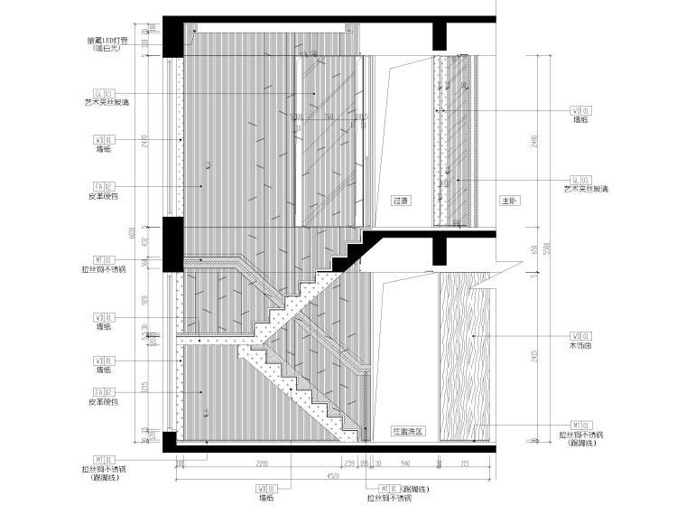 [深圳]壹方中心178㎡现代复式三居家装图纸-楼梯立面图