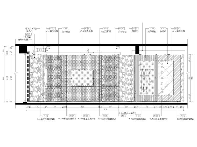 [深圳]壹方中心178㎡现代复式三居家装图纸-主卧立面图