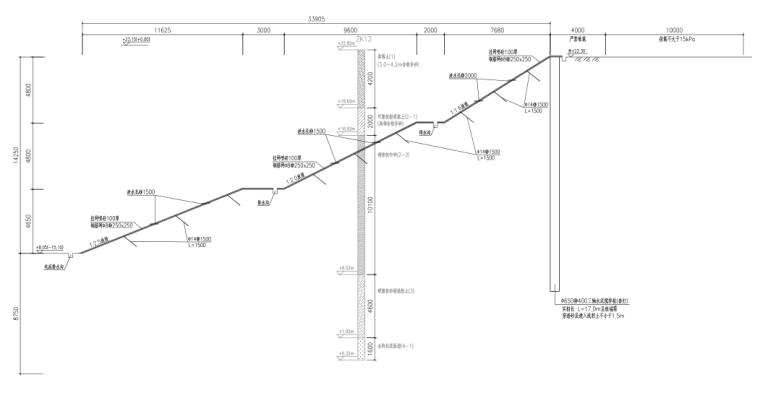 [广州]基坑支护设计图_灌注桩+预应力锚索-基坑分期开挖剖面图