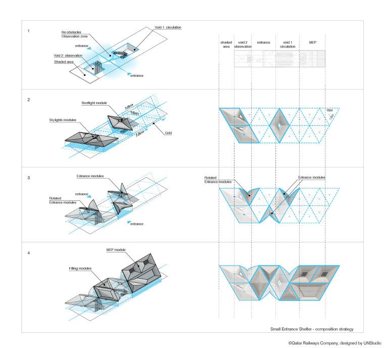 卡塔尔多哈地铁网络首批车站模块结构分析图