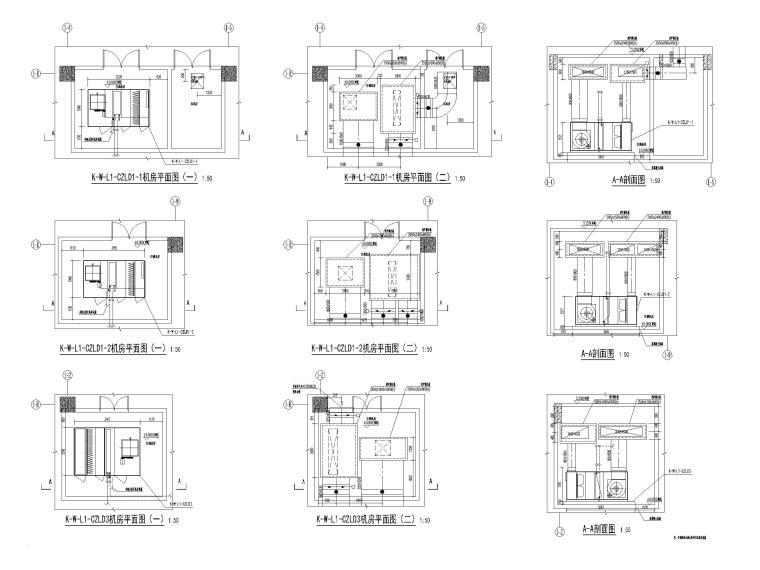 大型商业广场暖通施工图(含冷热源_大样图-空调机房大样图(一)