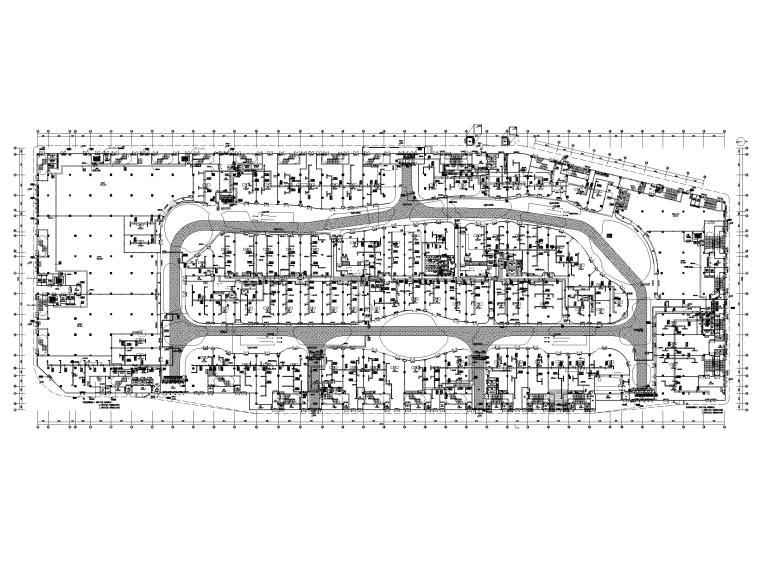 大型商业广场暖通施工图_含冷热源_大样图-一层空调水平面图