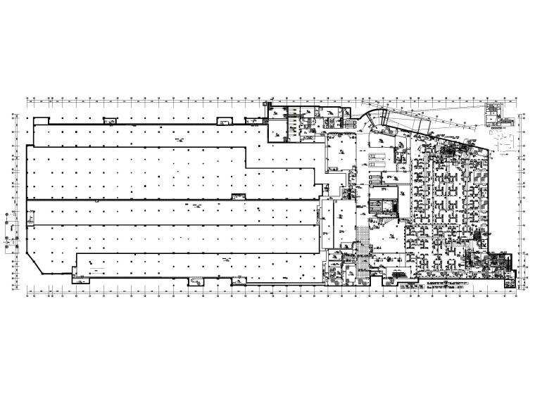 大型商业广场暖通施工图_含冷热源_大样图-地下一层空调风平面图