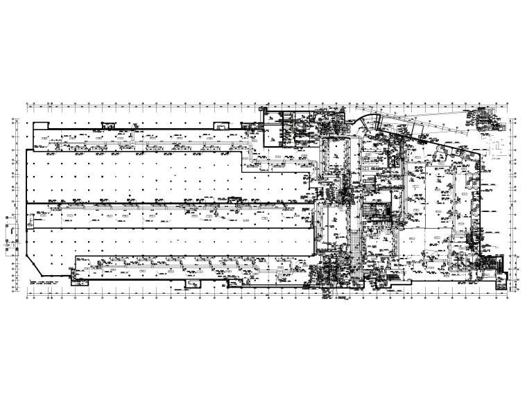 大型商业广场暖通施工图(含冷热源_大样图-地下一层通风防排烟平面图