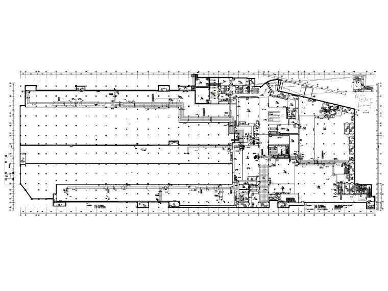 大型商业广场暖通施工图_含冷热源_大样图-地下一层空调水平面图
