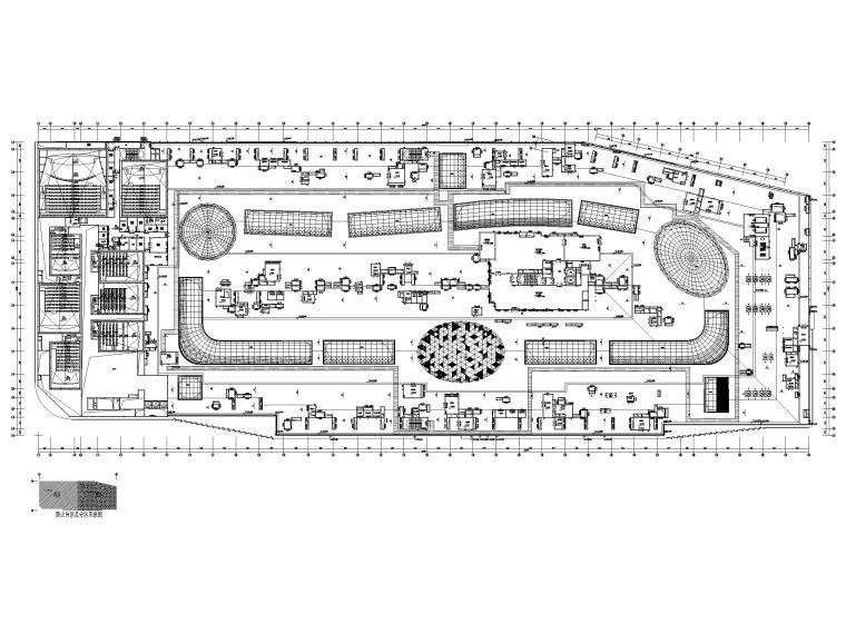 大型商业广场暖通施工图_含冷热源_大样图-屋面层空调风、水平面图
