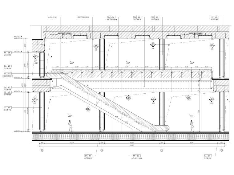[广东]深圳国际会展中心C11展厅精装扩初图-一、二层中庭立面图