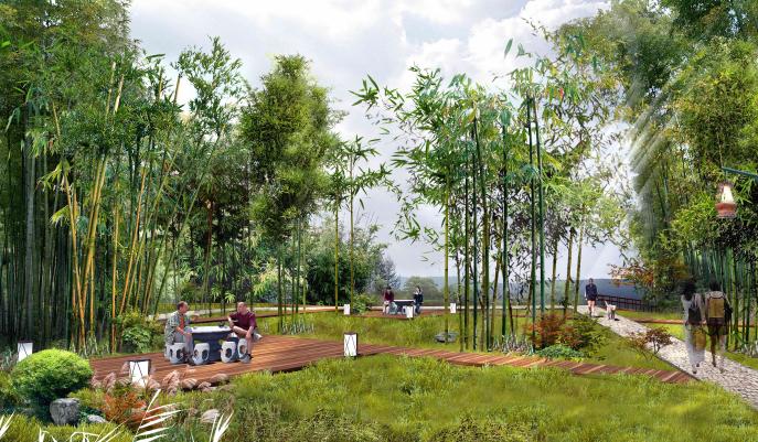 [贵州]都匀带状国家农业公园景观设计方案-四君子园效果图