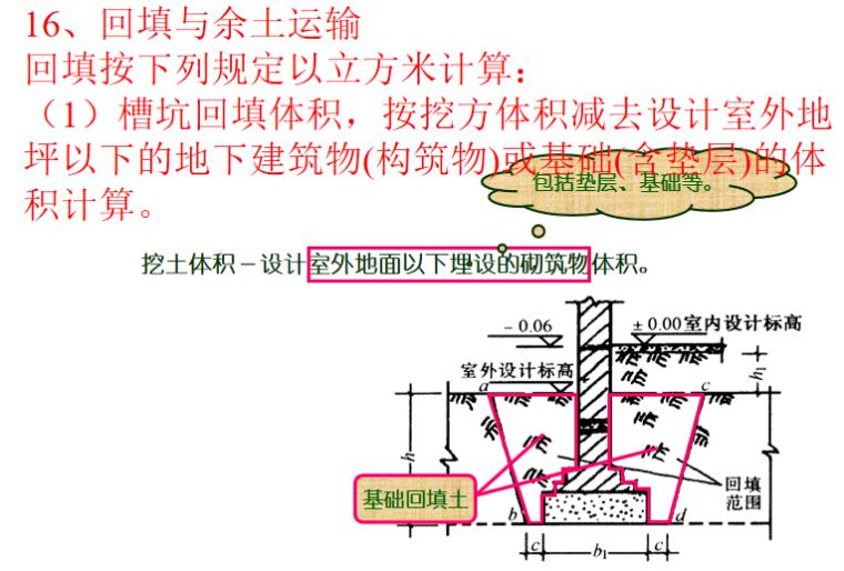 土石方工程计量与计价讲义PPT-10 回填与余土运输