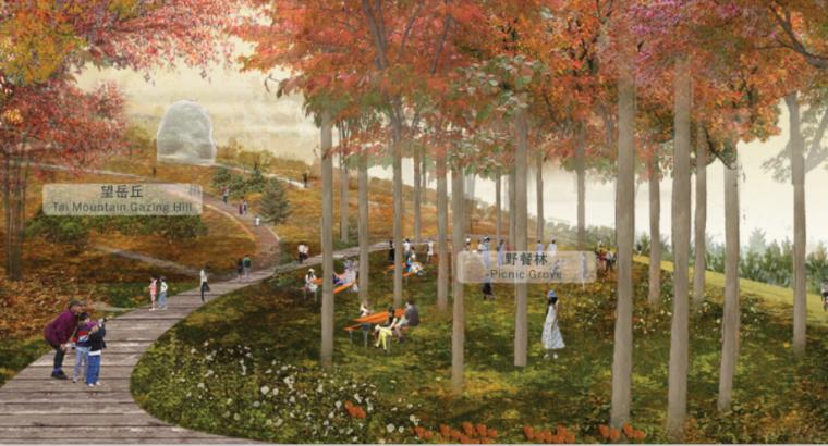 [山东]济南黄河公园景观设计方案-SOM-望岳丘效果图