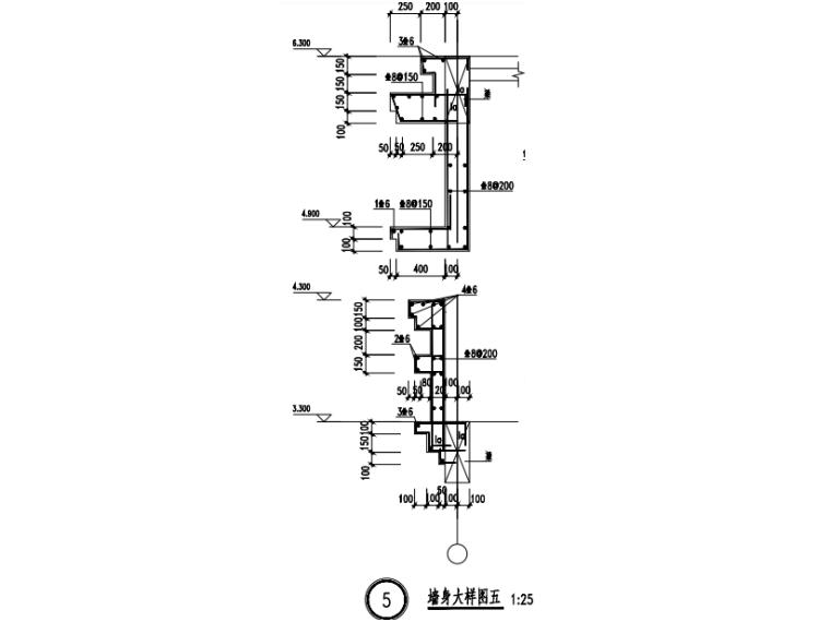 [贵州]4座框剪结构合院别墅结构施工图2018-墙身大样图