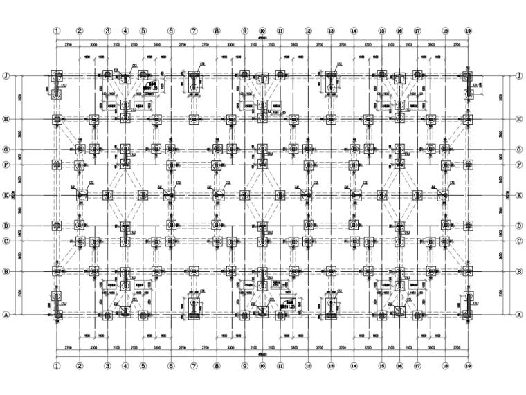 [贵州]4座框剪结构合院别墅结构施工图2018-基础平面布置图