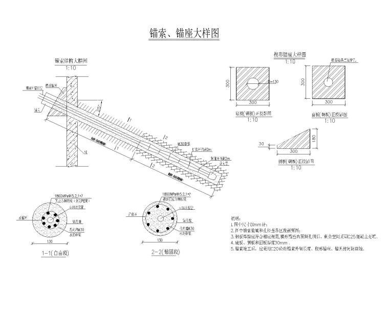 [贵州]新建小学边坡支护设计_施工图阶段-锚索、锚座大样图