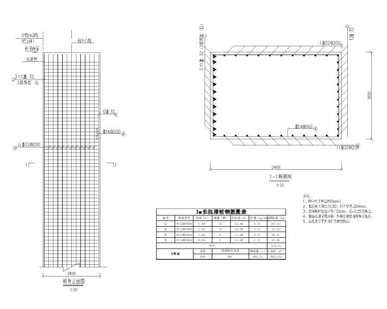 [贵州]新建小学边坡支护设计_施工图阶段-抗滑桩大样配筋图