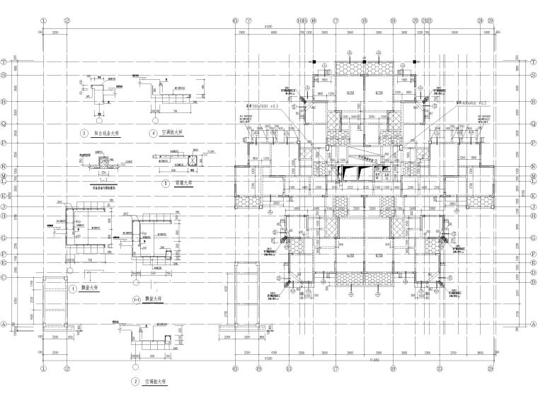 25层剪力墙结构商业住宅施工图(含建筑结构)-11.950结构平面布置图