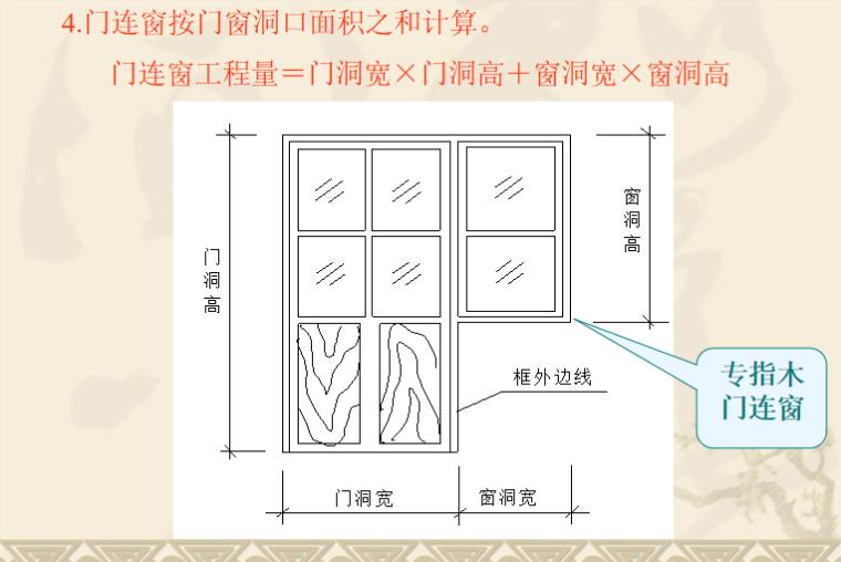 门窗及木结构工程定额及工程量计算PPT-04 门连窗工程量