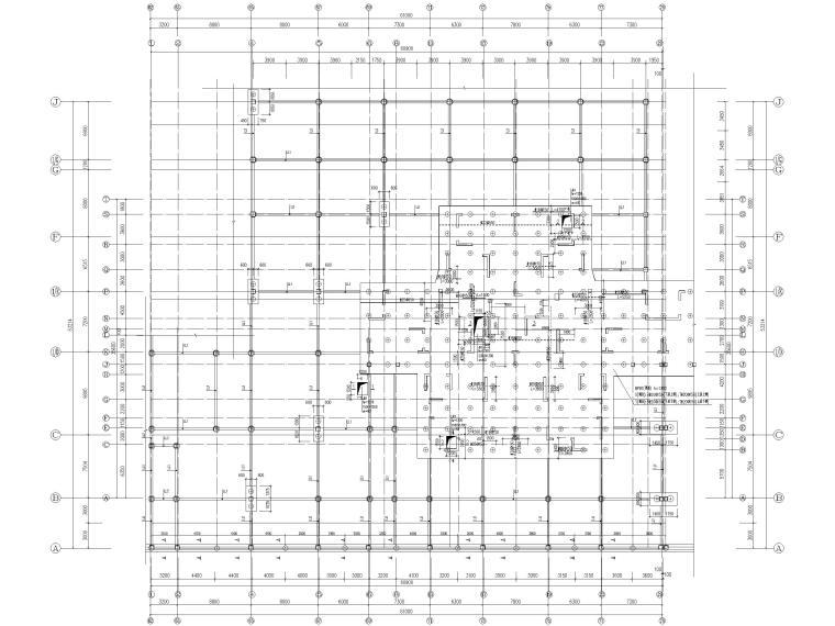 25层剪力墙结构商业住宅施工图(含建筑结构)-基础平面布置图