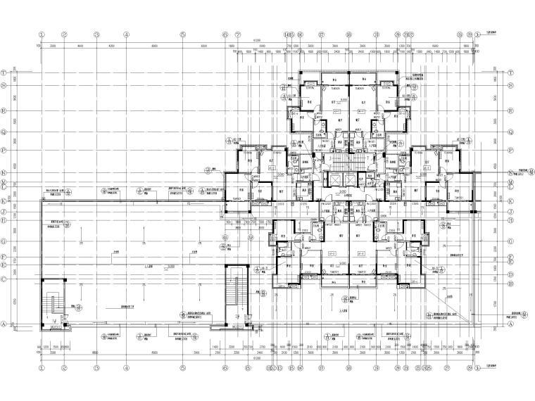 25层剪力墙结构商业住宅施工图(含建筑结构)-建筑_四层平面图