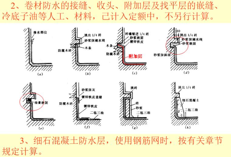 屋面防水保温防腐工程定额及工程量计算PPT-04 细石混凝土防水层
