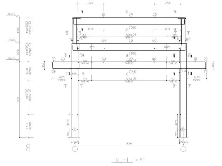 某村入口牌坊全套施工图CAD-整体配筋
