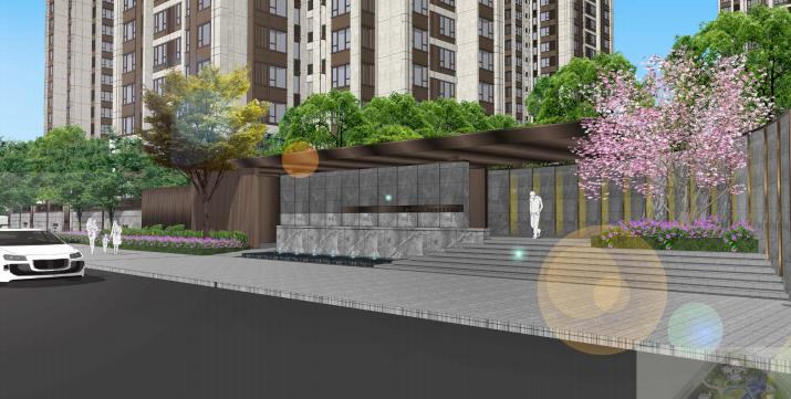 [重庆]滨水互动型社区花园景观设计-迎宾入口效果图
