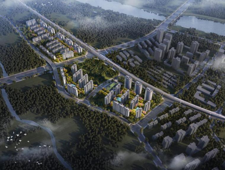 [重庆]两江新区新中式山地住宅投标方案-01 鸟瞰图