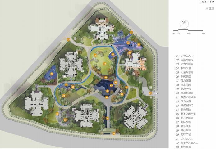 [重庆]滨水互动型社区花园景观设计-总平面图