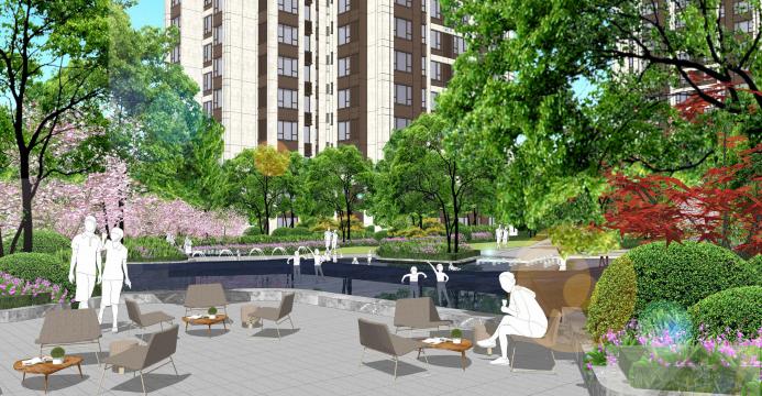 [重庆]滨水互动型社区花园景观设计-中心舞台效果图