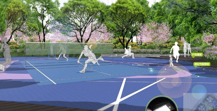 [重庆]滨水互动型社区花园景观设计-康体健身效果图