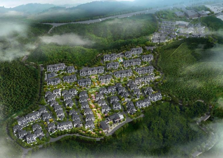 [北京]新中式风格山地住宅投标方案设计-鸟瞰图