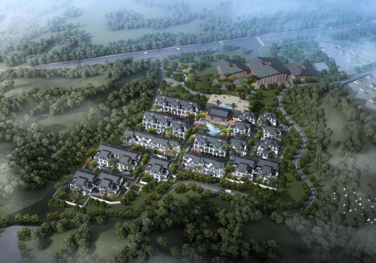 [北京]新中式风格山地住宅投标方案设计-01 鸟瞰图