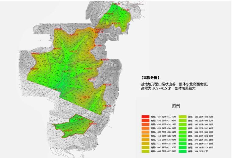 [北京]新中式风格山地住宅投标方案设计-地形分析