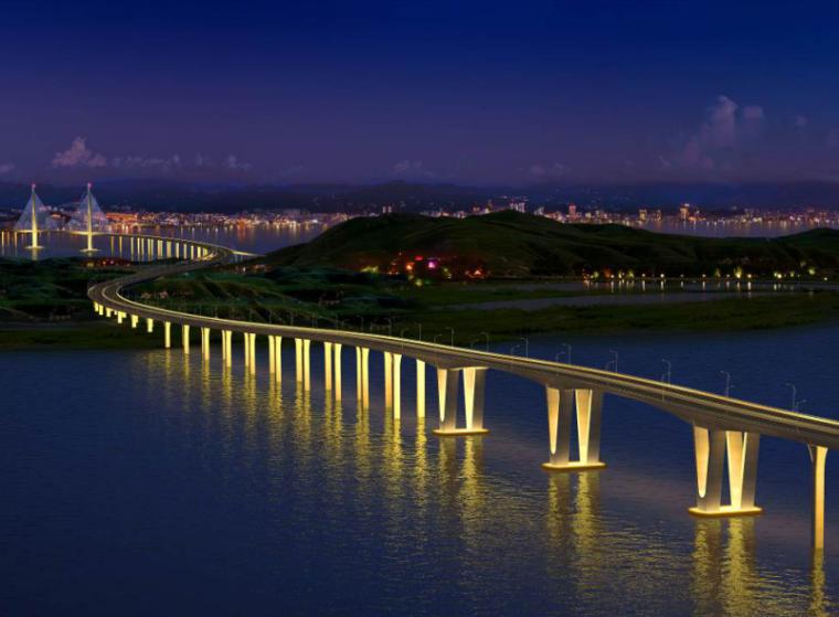 [浙江]跨海大桥张拉压浆技术专项方案-桥梁效果图