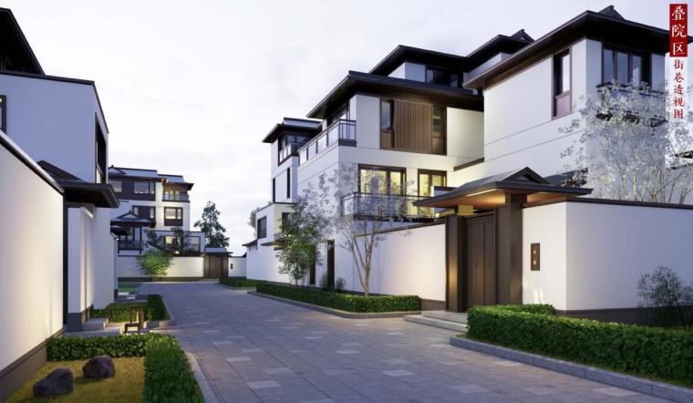 [北京]新中式风格山地住宅投标方案设计-效果图1