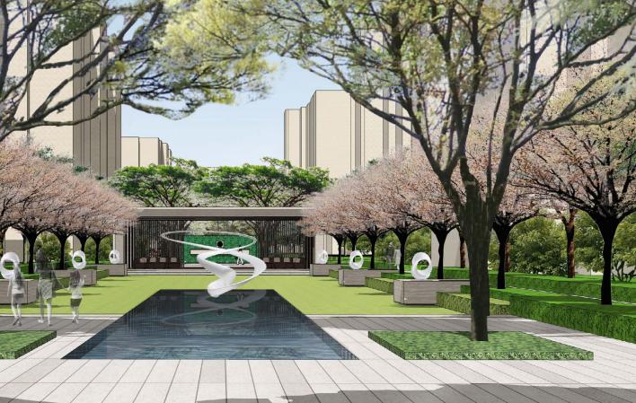 [天津]现代欧式艺术教育学区房景观设计-效果图2