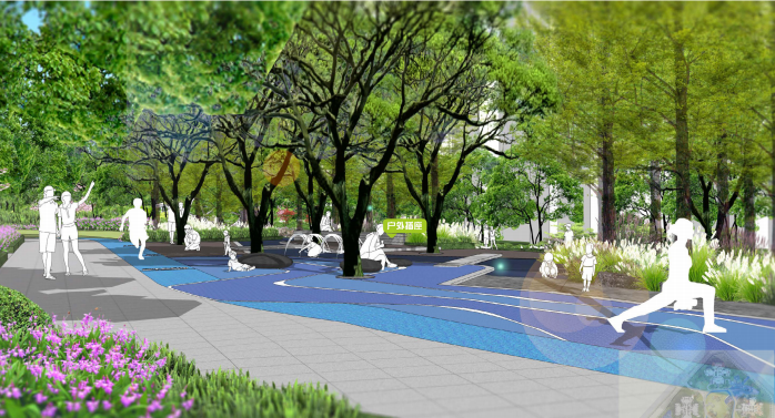 [重庆]滨水互动型社区花园景观设计-活动区效果图