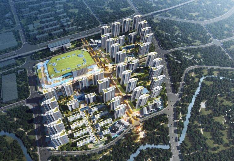 [云南]滨江邻里社区居住区规划建筑方案-01 鸟瞰效果图