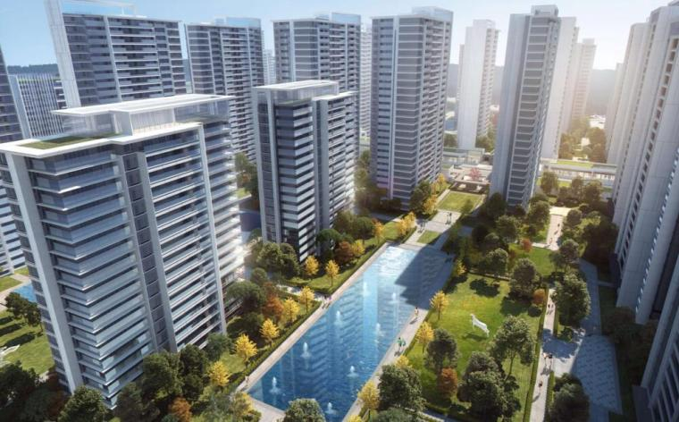 [云南]滨江邻里社区居住区规划建筑方案-内廷透视效果图