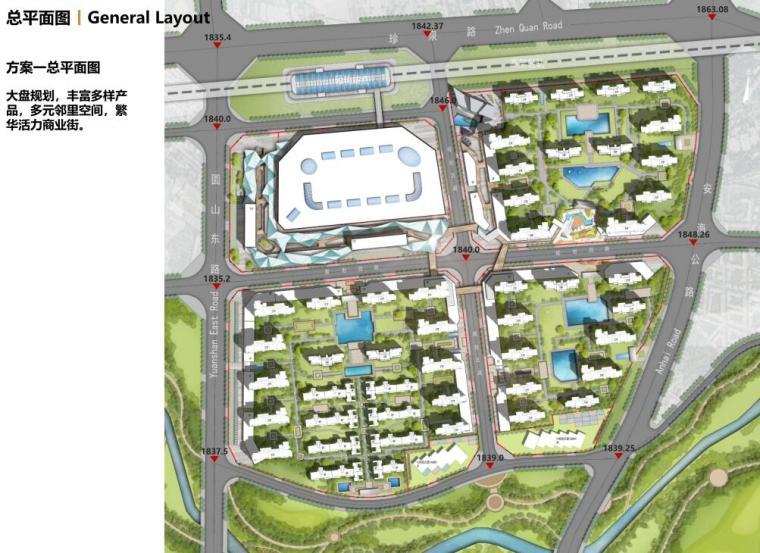 [云南]滨江邻里社区居住区规划建筑方案-方案一总平面图