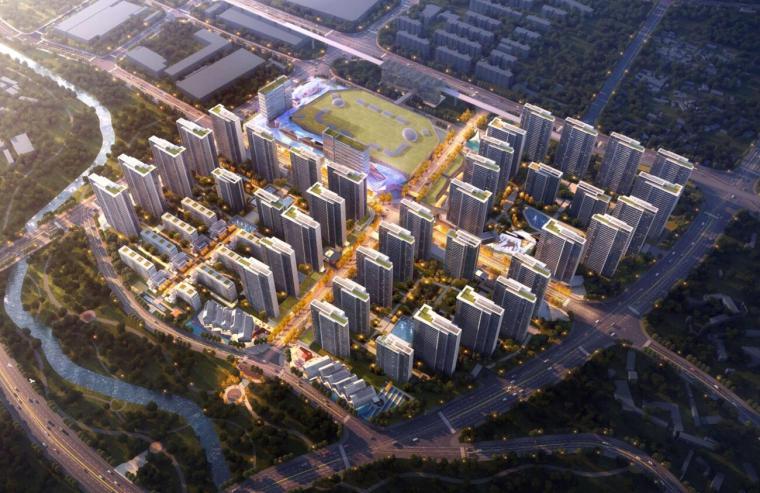 [云南]滨江邻里社区居住区规划建筑方案-鸟瞰效果图