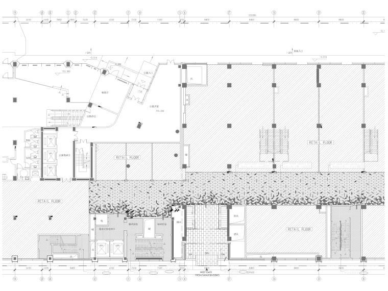 [北京]三里屯通盈中心1~2F商场内装施工图-一层局部放大地面材质图