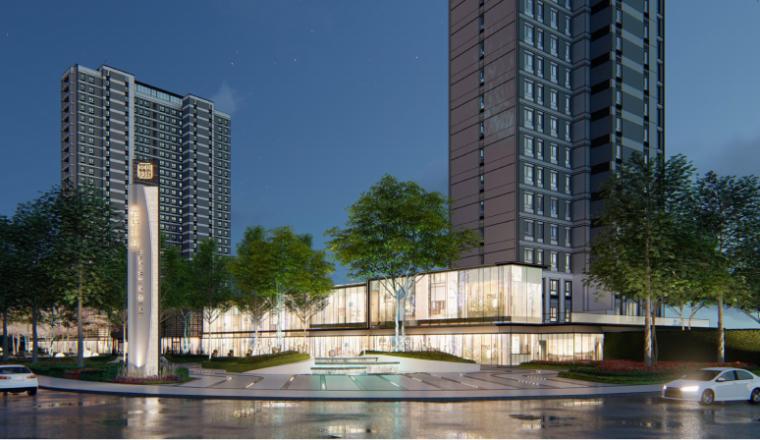 [南京]某现代轻奢高档住宅景观方案设计-商业街区效果图