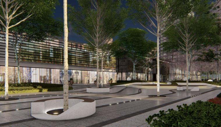 [南京]某现代轻奢高档住宅景观方案设计-商业街区效果图2